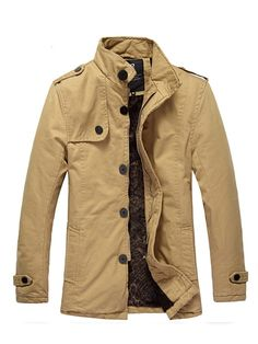 Khaki Stand Collar Single Breasted Cotton Men Thick Wind Coat M/L/XL/XXL 416A2099ka