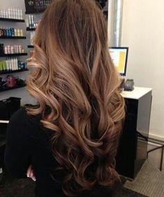 Rich brunette with caramel highlights, slightly ombréd.