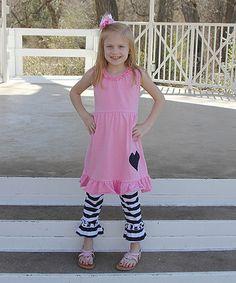 Look at this #zulilyfind! Light Pink Heart Tank & Stripe Leggings - Infant, Toddler & Girls #zulilyfinds