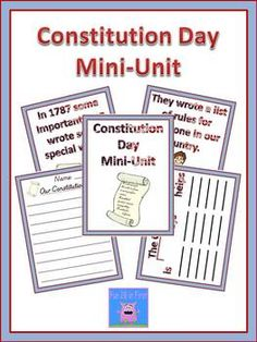 This product is designed to be used on Constitution Day. It includes a short book that explains the constitution in terms young children can unders. 3rd Grade Social Studies, Teaching Social Studies, Teaching Resources, School Holidays, School Fun, School Ideas, School Stuff, Constitution Day, Kindergarten Worksheets