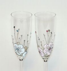 Wedding Glasses Toasting Flutes Hand Painted  by NevenaArtGlass, $49.80