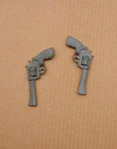 Black Revolver Earrings. $39, via The Cools