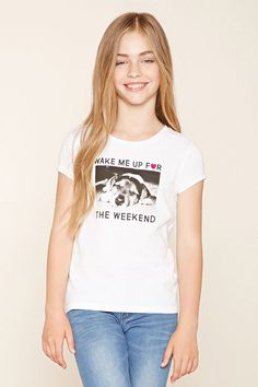 Forever 21 Girls - A knit tee featuring a round neckline, short sleeves, and a…