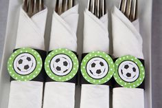 Items similar to Soccer Party - Napkin Rings - Silverware Wraps - Soccer Party Decorations in Green & Black on Etsy Soccer Birthday Parties, Soccer Party, Sports Party, Diy Birthday, Soccer Banquet, Soccer Center, Soccer Decor, Father's Day Celebration, Party Napkins