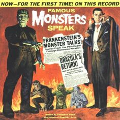 """Record cover for """"Famous Monster Speak"""" with Dracula and Frankenstein"""