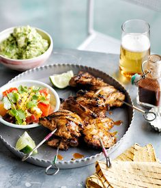 Australian Gourmet Traveller recipe for smoky chilli chicken with barbecued corn, crushed avocado and soft tacos.