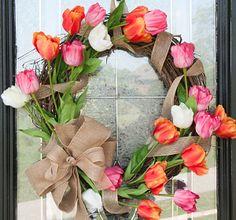 Rustic Chic Burlap & Tulips Wreath