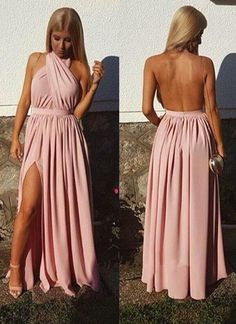 New Halter Pink Sexy Backless Prom Dress,Backless Prom