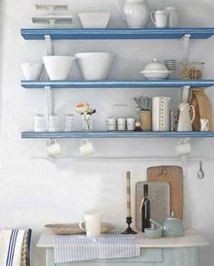 kitchen, shelf, blue