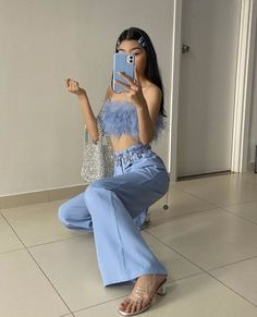 "fan outfits account on Twitter: ""baby blue… "" Hipster Outfits, Pink Outfits, Colourful Outfits, Trendy Outfits, Cool Outfits, Classy Outfits For Teens, Blue Fashion, Girl Fashion, Fashion Outfits"
