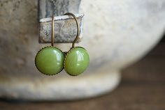 Tiny Olives    olive green Cabochon Earrings by picturing on Etsy.