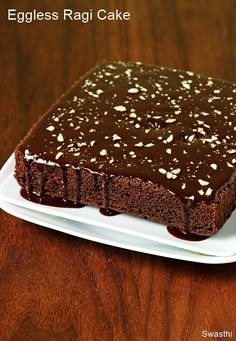 ragi chocolate cake, an eggless cake recipe using finger millet flour. I bake ragi biscuits, ragi cookies and this cake often for the kids for their snack Chocolate Sauce Recipes, Eggless Chocolate Cake, Eggless Desserts, Eggless Baking, Delicious Chocolate, Brownie Recipes, Eggless Coffee Cake Recipe, Chocolate Snacks, Chocolate Brownies