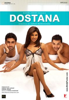 2008 - Abhishek Bachchan, Priyanka Chopra, and John Abraham star in this romantic comedy concerning a love triangle that's hopelessly complicated by a simple lie. Two men have fallen deeply in love with the same woman, but when they both pretend to be gay in order to rent an apartment and deal with immigration, the object of their mutual affections assumes that they have no interest in the opposite sex.