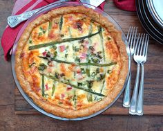 Ham and Asparagus Quiche can be made using a store-bought pie crust, which means an easy breakfast for dinner! | Karen's Kitchen Stories