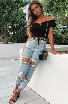 The Let's Bounce Distressed Jeans Washed Blue Denim. Head online and shop this season's latest styles at White Fox. Trendy Summer Outfits, Cute Casual Outfits, Pretty Outfits, Stylish Outfits, Cute Jean Outfits, Outfit Ideas Summer, Cute Party Outfits, Summer Jean Outfits, Blue Jeans Outfit Summer