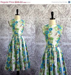 Vintage 1950s Dress 50s Floral Cotton Summer Dress Full Skirt Sleeveless Womens Size Medium on Etsy, $68.00