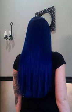 Pretty Hair Color, Hair Color Purple, Hair Dye Colors, Hair Color For Black Hair, Blue Ombre, Midnight Blue Hair, Dark Blue Hair, Blue Wig, Dye My Hair