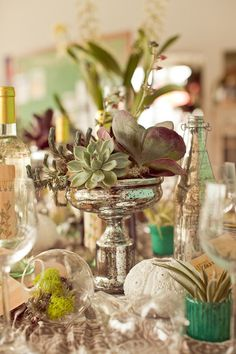Why not add a pair of my favorite things? Succulents and mercury glass! #momcave