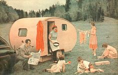 vintage summer camp- Dad's smoking and reading the paper as an aproned Mama cooks and the eldest daughter does a bit of laundry... yeah, those were the good old days?...