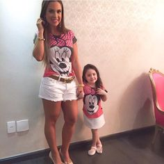 """Mommy and I in matching t-shirts. Mother Daughter Matching Outfits, Mommy And Me Outfits, Mom Daughter, Matching Family Outfits, Cute Outfits, Daughters, Fashion Kids, Baby Girl Fashion, Baby Baker"