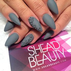 Matte Grey on Stilettos Nails