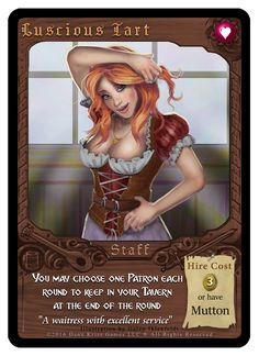 """""""Luscious Tart"""" card from Tavern Masters fantasy card game by Dann Kriss. Art by Galen Ihlenfeldt. Dann Kriss Games LLC ® All Rights Reserved Card Games, Masters, Tart, Fantasy, Illustration, Artwork, Master's Degree, Work Of Art, Pie"""