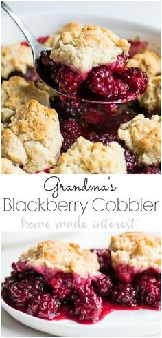 My Grandma's Blackberry Cobbler recipe is my family's favorite dessert recipe. It's an easy blackberry cobbler recipe made with fresh blackberries and a baking powder biscuit dough that bake together into a sweet, juicy dessert you don't want to miss. This is an easy fruit cobbler recipe using fresh or frozen blackberries to make an amazing blackberry cobbler that everyone will want for dessert! #dessert #cobbler #blackberries #fruit #homemadeinterest via @hmiblog