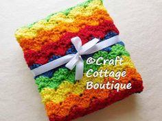 Crochet Rainbow Baby Blanket - You Pick the Edging Color- Travel / Stroller / Car Seat / Crib Red Orange Yellow Green Blue-Pram-Unisex-Knit