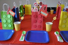 Homemaking Fun: A Lego Themed Birthday Party- lego gift bags and free lego font