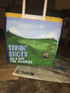 Golf Gifts For Boss - - Golf Decorations Center Pieces - Golf Voiture 2020 Sorority Canvas, Sorority Paddles, Sorority Crafts, Sorority Recruitment, Fraternity Coolers, Frat Coolers, Fraternity Formal, Golf Painting, Cooler Painting