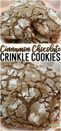Cinnamon Chocolate Crinkle Cookies taste like Mexican hot chocolate and are amazing! Soft & chewy cookies with a fantastic chocolate taste with a hint of cinnamon. #cookies #chocolate #cinnamon #crinkle #baking #dessert #recipe from FAMILY COOKIE RECIPES via @familycookierecipes Chocolate Crinkle Cookies, Chocolate Crinkles, Chocolate Butter, Chocolate Flavors, Chocolate Recipes, Mini Desserts, Easy Desserts, Delicious Desserts, Dessert Recipes