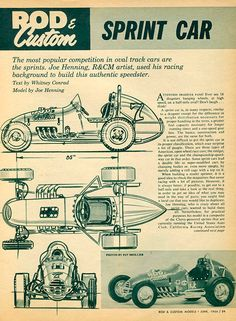 Sprint car article from racing and rod and custom models mag 1964 Old Race Cars, Rc Cars, Vintage Go Karts, Ho Slot Cars, Dirt Track Racing, Sprint Cars, Karting, Car Images, Automotive Art