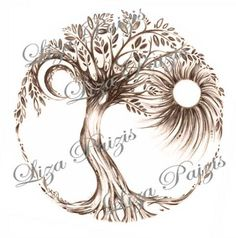 Stunning Tree of Life Tattoo Design by Liza Paizis  the original design available on her Etsy tattoo website here.