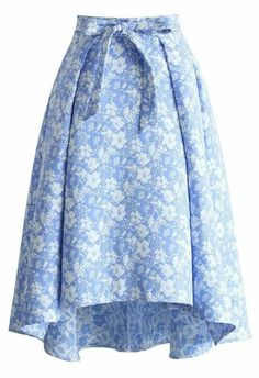 Sky Blue Jacquard Floral Waterfall Skirt - Skirt - Bottoms - Retro, Indie and Unique Fashion Modest Fashion, Unique Fashion, Womens Fashion, Fashion Fashion, Led Dress, Dress Skirt, Floral Print Skirt, Floral Skirts, Printed Skirts