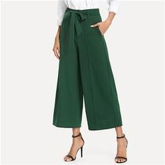 Pocket Side Belted Culotte Pants 2018 Summer High Waist Wide Leg Crop Pants Women Green Pleated Trousers Green S Workwear Trousers, Trousers Women, Pants For Women, Clothes For Women, Culotte Pants, Trouser Pants, Fall Pants, Spandex Pants, Wide Leg Cropped Pants