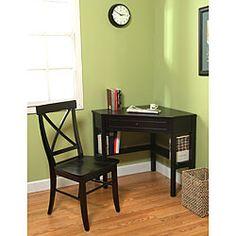 Black Corner Desk and Crossback Chair 2-piece Study Set