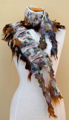 Rainbow Sheep   cotton thread and merino wool