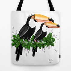 Toucan Duo Bubbles, Reusable Tote Bags, Artist, Artists