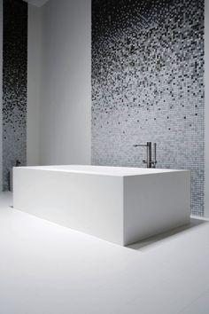 Sjartec Badkamers, sanitair, Leiden, Zuid-Holland badkamer verloop mozaïek wit zwart interieur