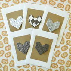 Black and White Note Card: Hearts  Handmade by LeavesOfPaper