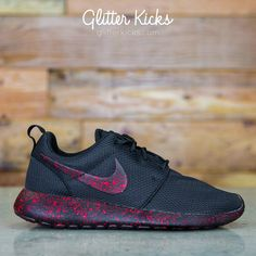 Nike Shoes OFF! Nike Roshe One Customized by Glitter Kicks - Triple Black / Red Paint Speckle Women's Shoes, Cute Shoes, Me Too Shoes, Shoe Boots, Roshe Shoes, Shoes 2016, Shoes Style, Nike Free Shoes, Nike Shoes Outlet