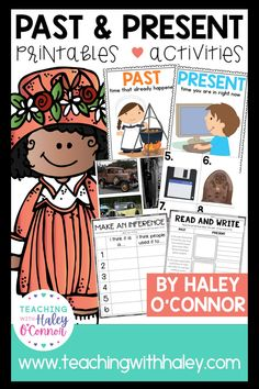 Past and present worksheets, activities & printables by Teaching with Haley. This mini-unit is all you need to teach your little ones about past and present! I created this unit for my first grade students, but it could easily fit into the kindergarten and 2nd-grade curriculum as well. In this packet, you'll find several whole-group activities and pocket chart sorts, independent practice pages, writing pages, and so much more. Read more for detail!