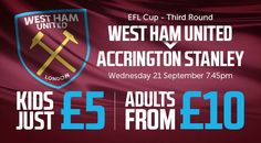 TICKETS NOW ON GENERAL SALE FOR THE FIRST DOMESTIC CUP TIE AT LONDON STADIUM AGAINST ACCRINGTON STANLEY