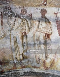 Fine art : Marcellino and Tiburcio, detail of Christ and Holy Martyrs, late 4th- century fresco, Catacomb of Saints Marcellinus and Peter, Rome, Italy, 4th century