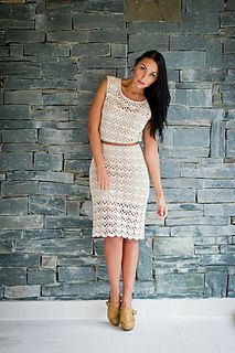 This pattern appears in DMC Ladieswear Crochet Pattern Leaflet 14967L which has 4 designs: Lace Dress, Lace Vest Top, Ladies Sleeveless Top and Lace Stripe Bolero. It is available from DMC (UK) stockists.