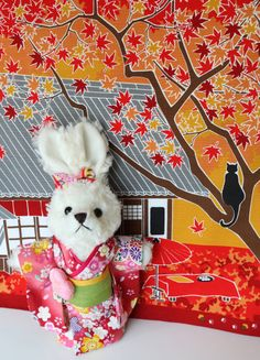 Christmas Bunny doll dressed in a Japanese by japanmomijidesigns /// BUY from ETSY $50.00 USD