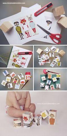 Cubos puzzle de animales. Mi cesta de mimbre