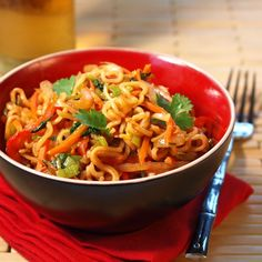 Easy bami goreng with ramen noodles! Maybe add fried egg and/or tofu. (Tip: 1 T ketjap = 1 T soy sauce + 1/2 T brown sugar.)