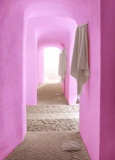 bright pink walls for a spa-like bathroom
