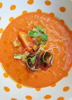 "Smoky Chilled Tomato Soup. Heirloom Tomato, Peach Panzanella ""Relish"""